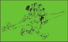 Amando Prendes llevando adelante a sus Gorilas.