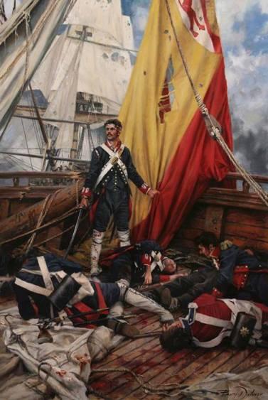 """Mi bandera. Augusto Ferrer-Dalmau. En el combate naval del cabo de San Vicente el 14 de febrero de 1797. Martín Alvarez protegía la enseña en la toldilla del""""San Nicolás de Bari"""""""