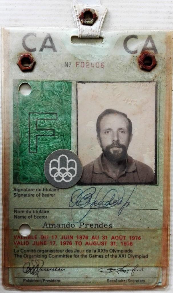 Acreditación de papá en Montreal 1976