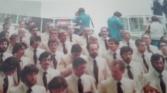 """Equipo Olímpico Español en el desfile inaugural de Montreal 1976. De izq a decha se pueden identificar a Herminio Menéndez, Luis Gregorio Ramos Misioné, Amando Prendes, Ramón Menéndez Palmeiro (""""Moncho"""") y José María Esteban Celorrio."""